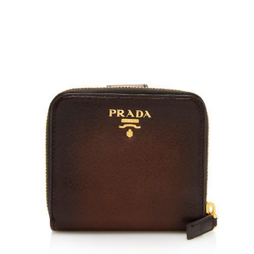 Prada Ombre Cervo Zip Compact Wallet