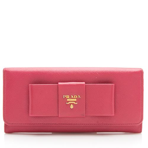 Prada Saffiano Continental Bow Wallet