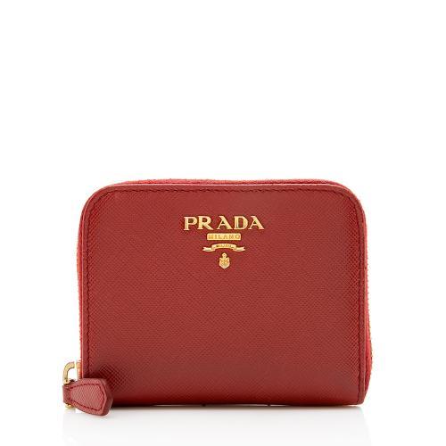 Prada Saffiano Leather Zip Card Case Wallet