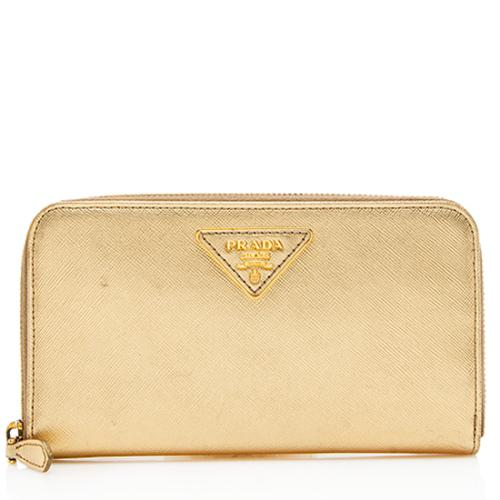 Prada Saffiano Leather Zip Around Wallet