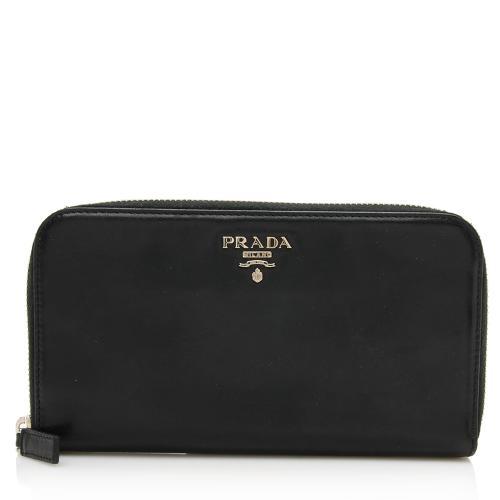 Prada Soft Calf Leather Zip Around Wallet