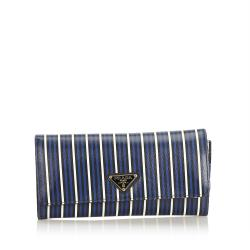Prada Striped Saffiano Leather Continental Long Wallet