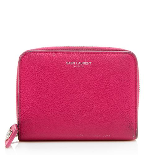 Saint Laurent Grain de Poudre Rive Gauche Compact Zip Around Wallet - FINAL SALE