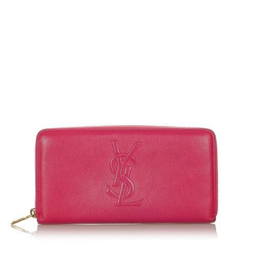 Saint Laurent Leather Zip Around Long Wallet