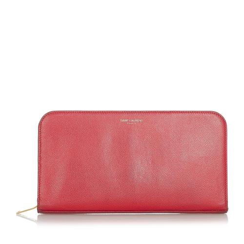 Saint Laurent Leather Zip Around Wallet