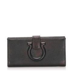 Salvatore Ferragamo Gancini Leather Long Wallet