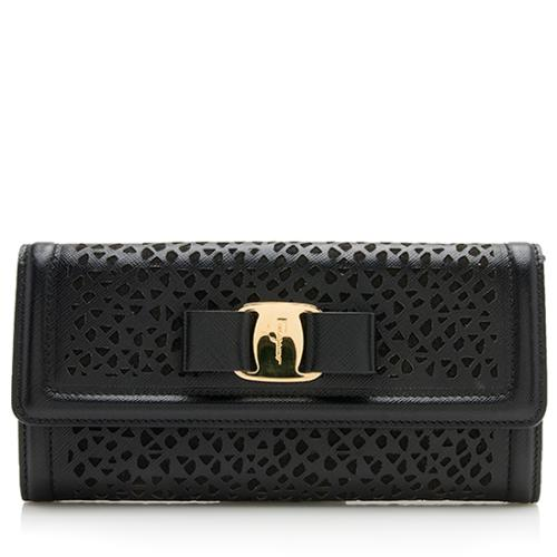 Salvatore Ferragamo Laser Cut Saffiano Leather Vara Wallet