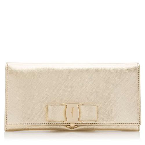 Salvatore Ferragamo Metallic Saffiano Miss Vara Bow Continental Wallet
