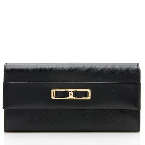 Salvatore Ferragamo Saffiano Leather Bow Wallet