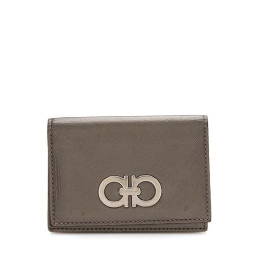 Salvatore Ferragamo Saffiano Leather Double Gancio Card Case