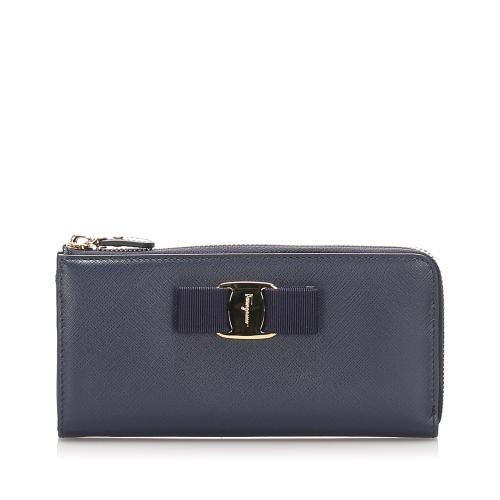 Salvatore Ferragamo Leather Vara Long Wallet