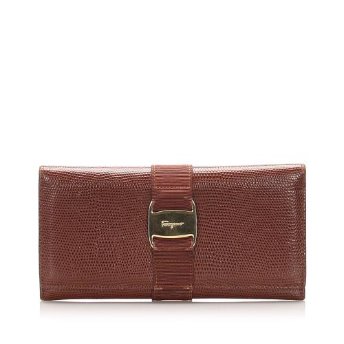 Salvatore Ferragamo Leather Vara Long Wallet