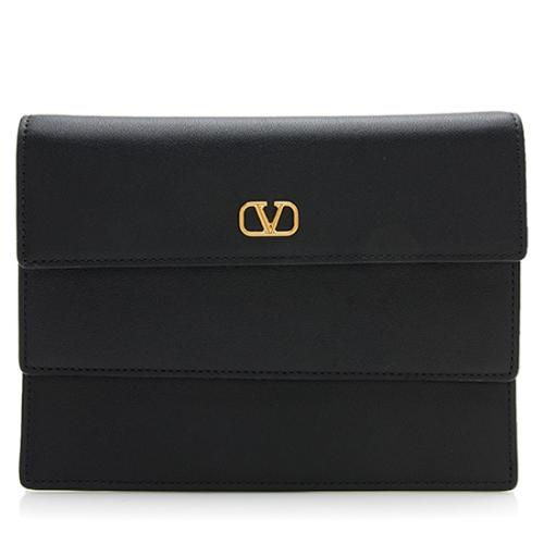 Valentino Leather Double Flap Pouch Wallet