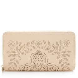 Valentino Leather Laser Cut Zip Around Wallet