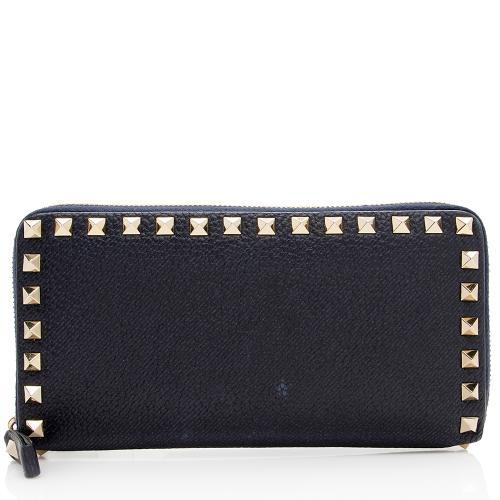 Valentino Leather Rockstud Zip Wallet