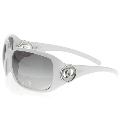 Chanel Black & White Rectangle Sunglasses