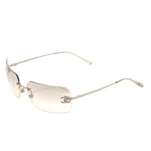 Chanel Rimless Crystal CC Rectangle Sunglasses