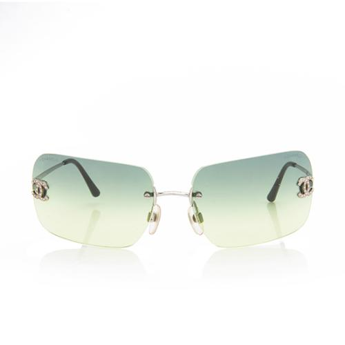 Chanel Rimless Crystal CC Rectangle Sunglasses