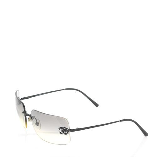 Chanel Rimless Crystal Logo Sunglasses