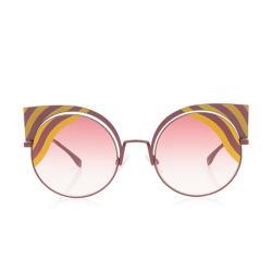 Fendi Cat-Eye Striped Hypnoshine Sunglasses