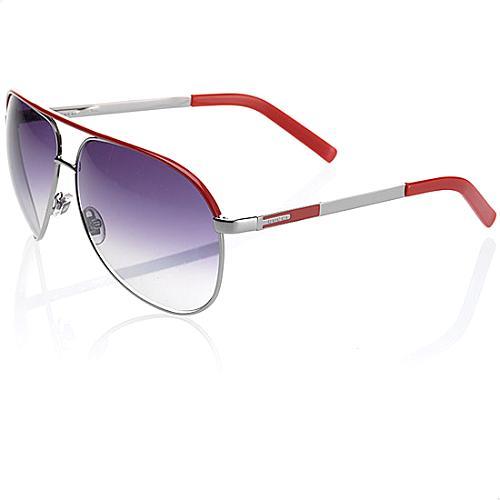 Gucci Red Metal Aviator Sunglasses