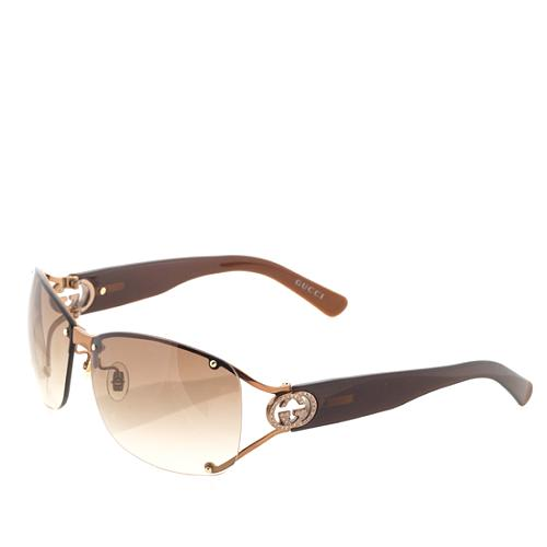 Gucci Rimless Crystal Logo Sunglasses
