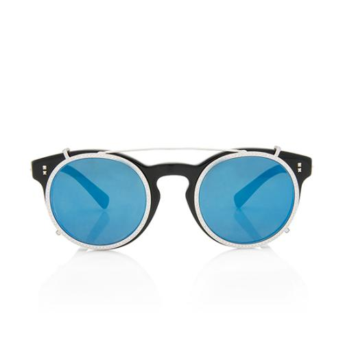 Valentino Removable Crystal Rim Round Sunglasses