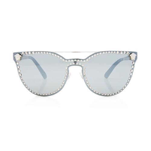 Versace Mirrored Studded Cat-Eye Sunglasses