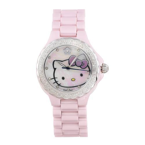 Hello Kitty Pink Ceramic Diamond Watch
