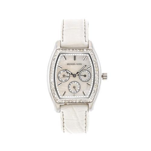Michael Kors Chronograph Glitz Leather Band Watch