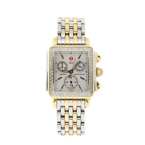 Michele Deco Day Diamond Dial Watch