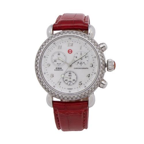 Michele Diamond Round Watch w/ Two Straps