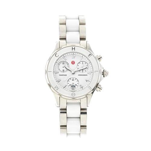Michele Tahitian Ceramic Stainless Steel White Bezel Watch