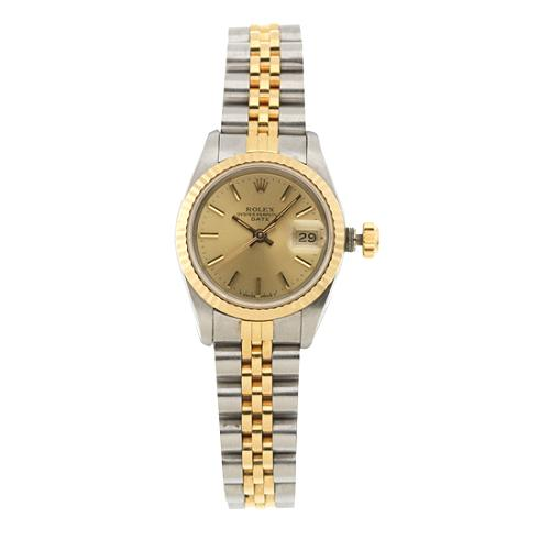 Rolex Ladies Oyster Perpetual Date 18k Gold and Steel Watch