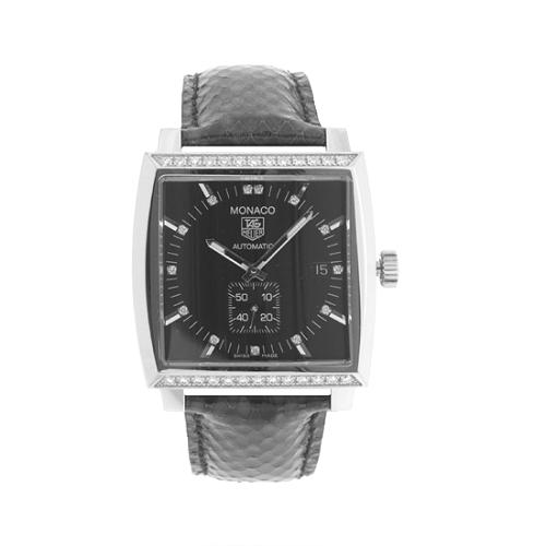 TAG Heuer Midsize Monaco Diamond Automatic Python Band Watch